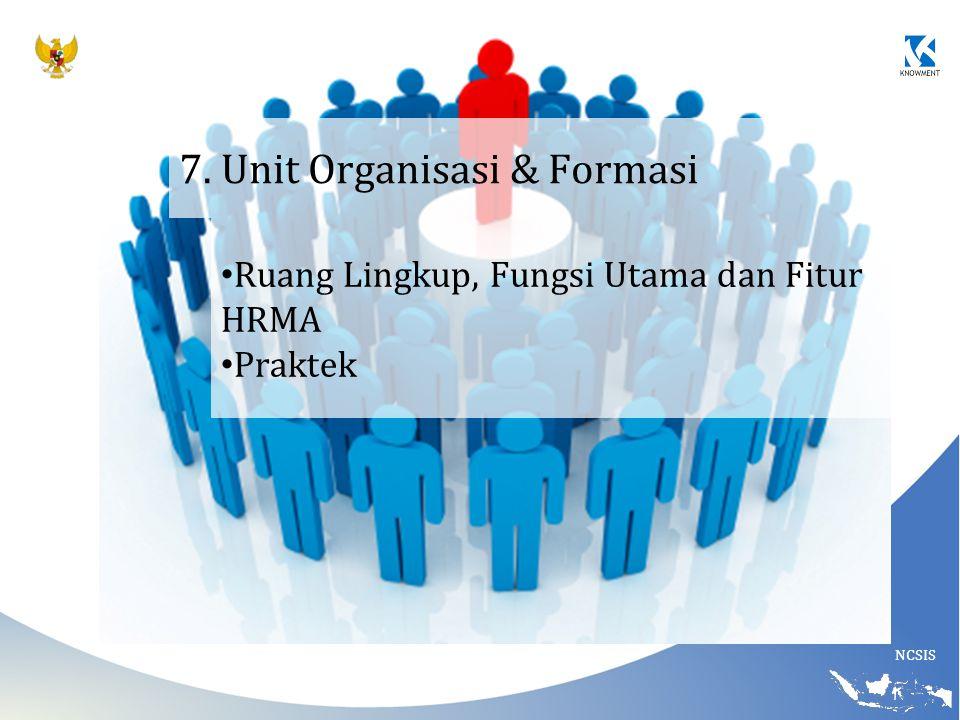 7. Unit Organisasi & Formasi