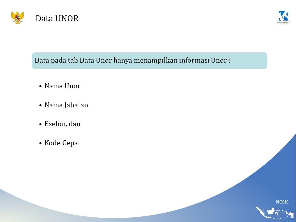 Data UNOR Data pada tab Data Unor hanya menampilkan informasi Unor :