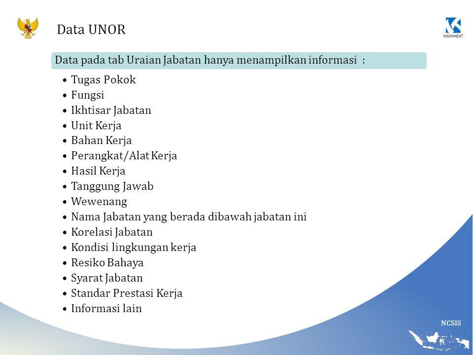 Data UNOR Data pada tab Uraian Jabatan hanya menampilkan informasi :