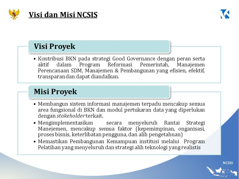 Visi dan Misi NCSIS Visi Proyek Misi Proyek