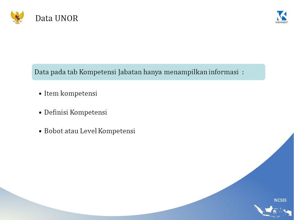 Data UNOR Data pada tab Kompetensi Jabatan hanya menampilkan informasi : Item kompetensi. Definisi Kompetensi.