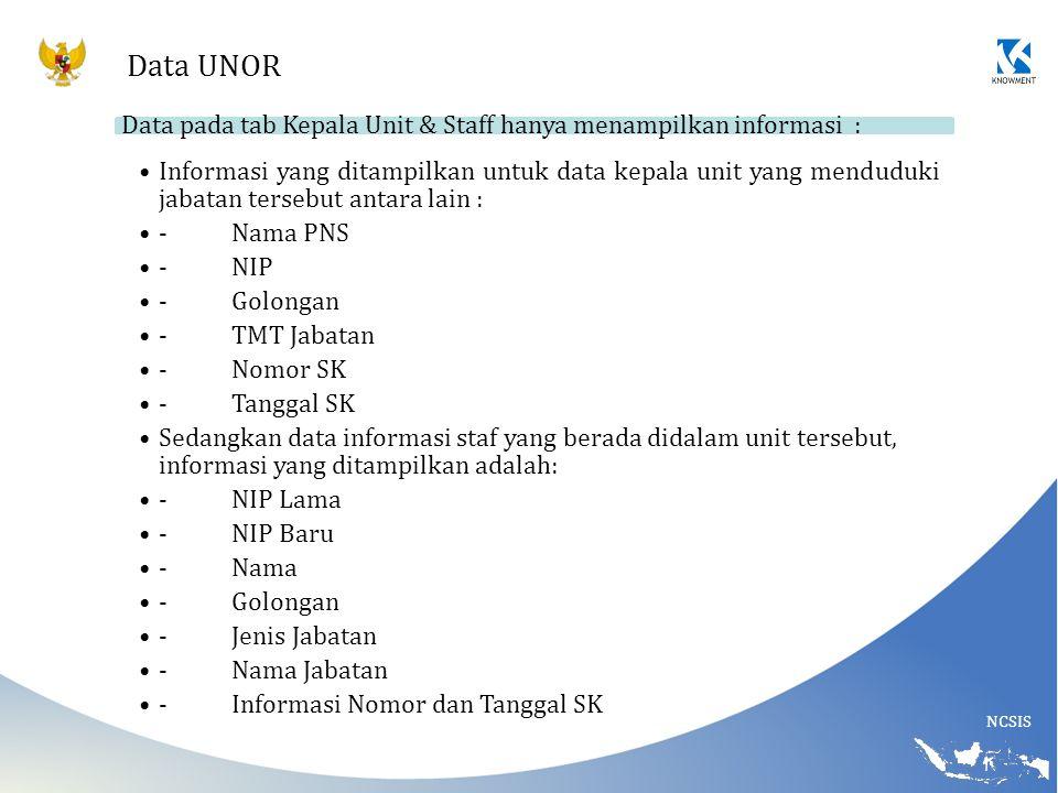 Data UNOR Data pada tab Kepala Unit & Staff hanya menampilkan informasi :