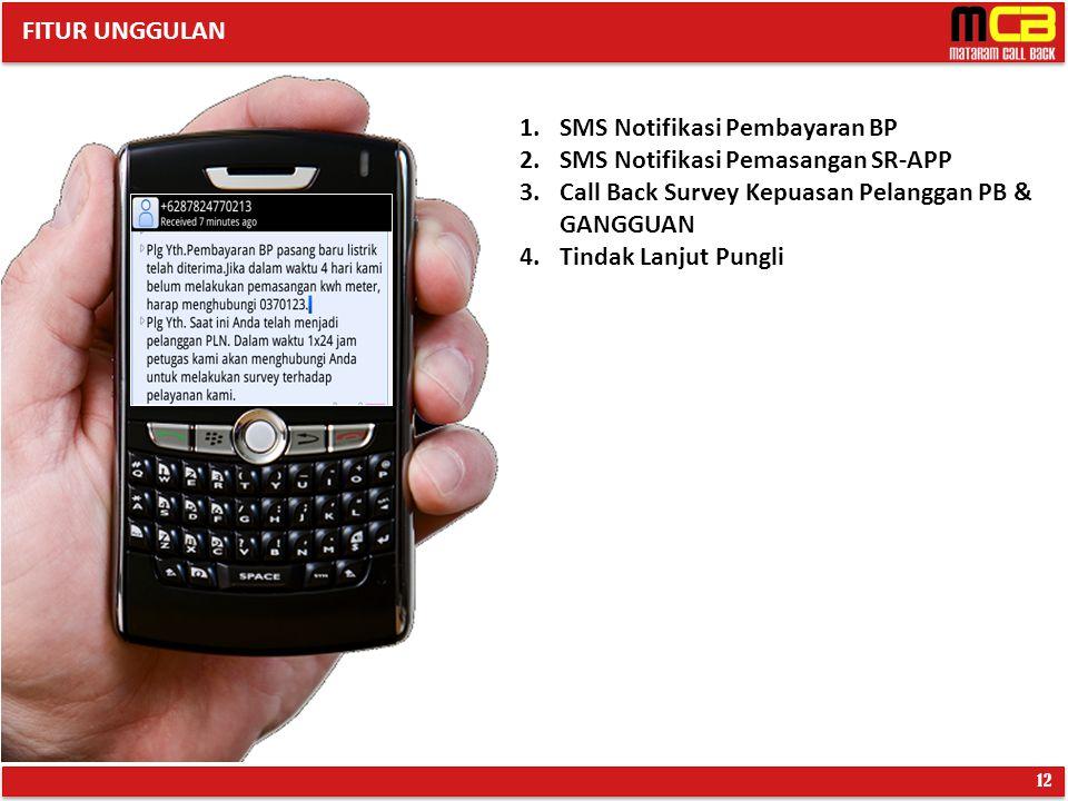 SMS Notifikasi Pembayaran BP SMS Notifikasi Pemasangan SR-APP