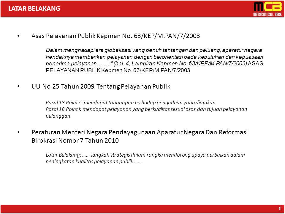Asas Pelayanan Publik Kepmen No. 63/KEP/M.PAN/7/2003