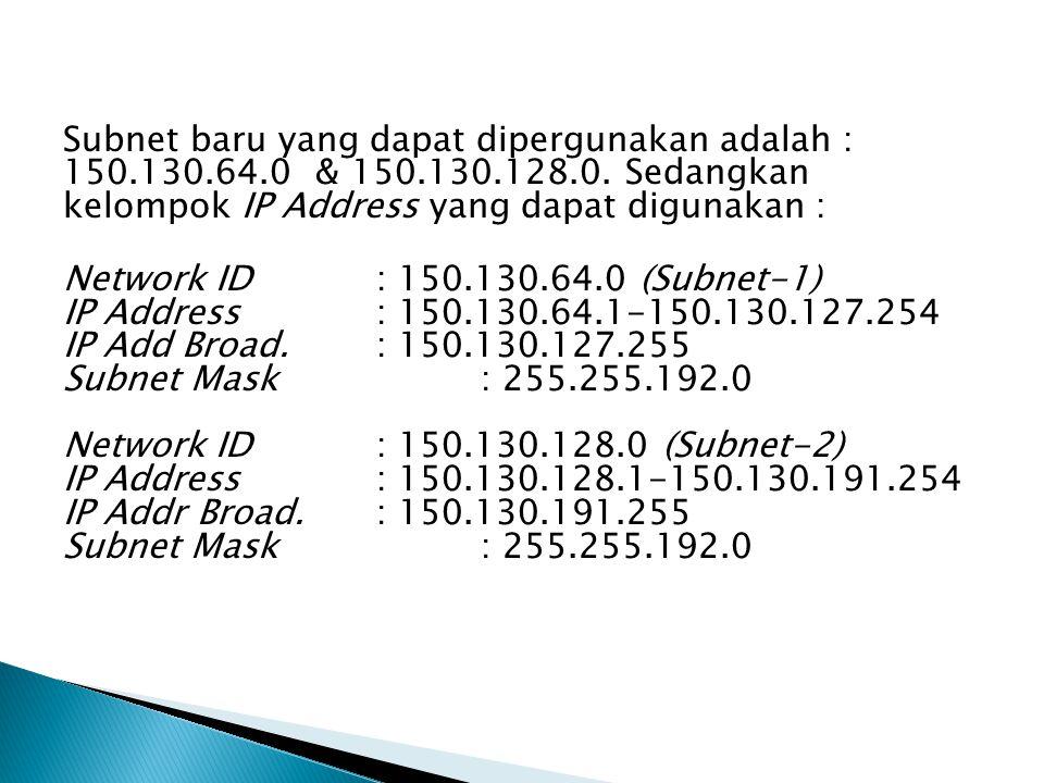 Subnet baru yang dapat dipergunakan adalah : 150.130.64.0 & 150.130.128.0.