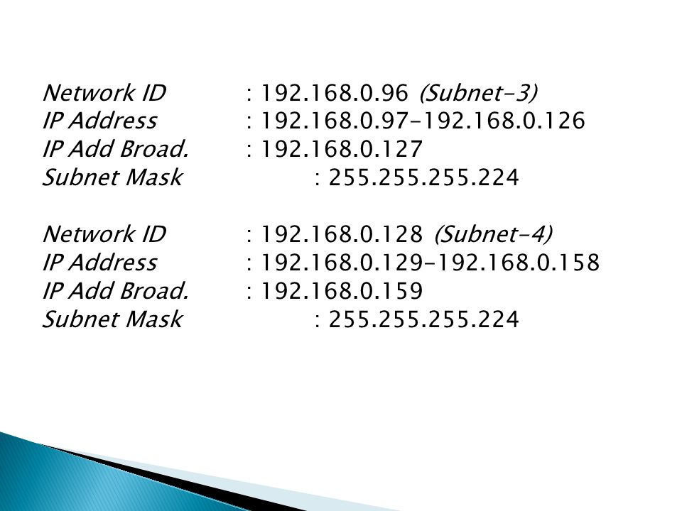 Network ID : 192.168.0.96 (Subnet-3) IP Address : 192.168.0.97-192.168.0.126 IP Add Broad.