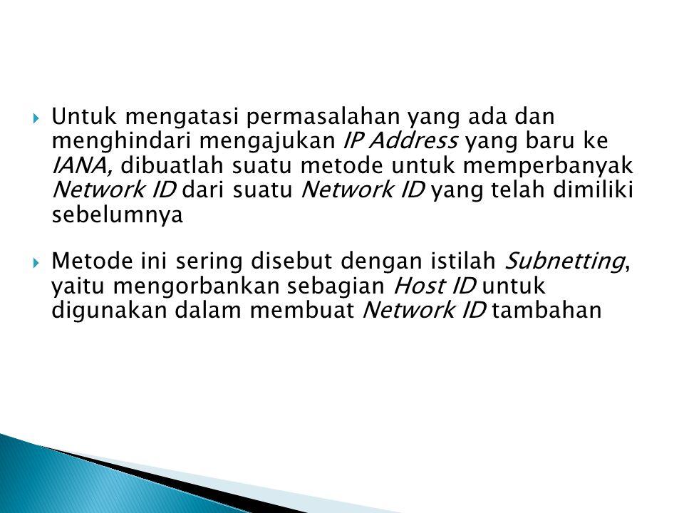 Untuk mengatasi permasalahan yang ada dan menghindari mengajukan IP Address yang baru ke IANA, dibuatlah suatu metode untuk memperbanyak Network ID dari suatu Network ID yang telah dimiliki sebelumnya