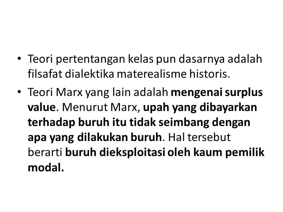 Teori pertentangan kelas pun dasarnya adalah filsafat dialektika materealisme historis.