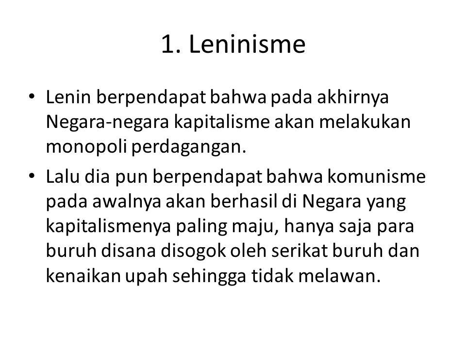 1. Leninisme Lenin berpendapat bahwa pada akhirnya Negara-negara kapitalisme akan melakukan monopoli perdagangan.