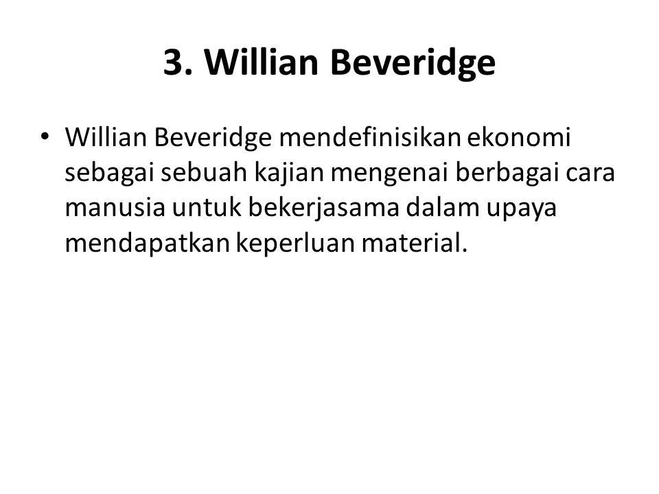 3. Willian Beveridge
