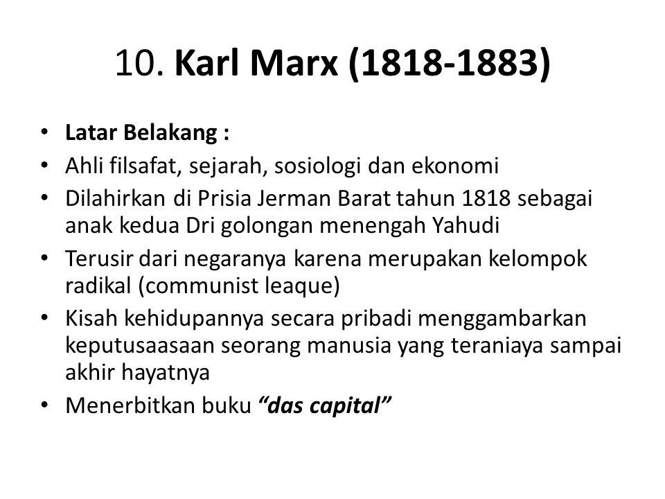 10. Karl Marx (1818-1883) Latar Belakang :