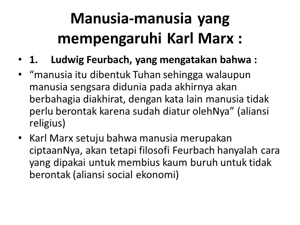 Manusia-manusia yang mempengaruhi Karl Marx :