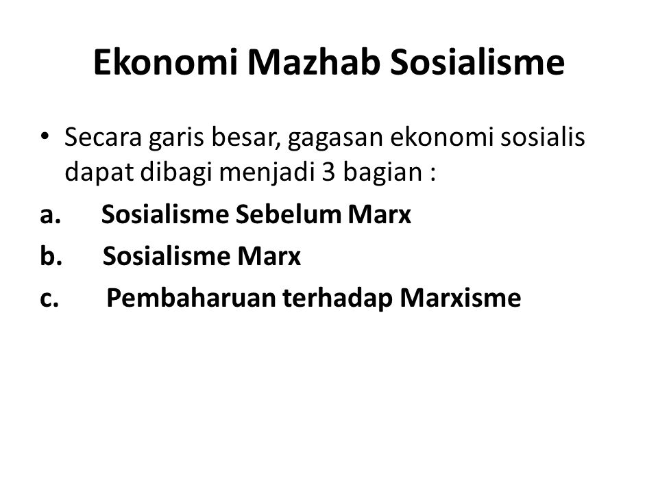 Ekonomi Mazhab Sosialisme