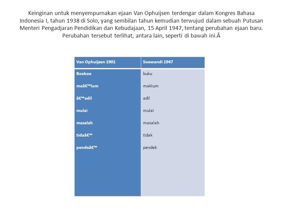 Keinginan untuk menyempurnakan ejaan Van Ophuijsen terdengar dalam Kongres Bahasa Indonesia I, tahun 1938 di Solo, yang sembilan tahun kemudian terwujud dalam sebuah Putusan Menteri Pengadjaran Pendidikan dan Kebudajaan, 15 April 1947, tentang perubahan ejaan baru. Perubahan tersebut terlihat, antara lain, seperti di bawah ini.Â
