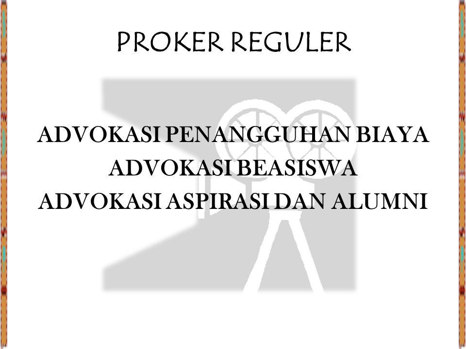 PROKER REGULER ADVOKASI PENANGGUHAN BIAYA ADVOKASI BEASISWA ADVOKASI ASPIRASI DAN ALUMNI