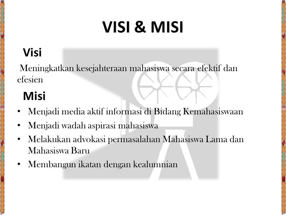 VISI & MISI Visi. Meningkatkan kesejahteraan mahasiswa secara efektif dan efesien. Misi.