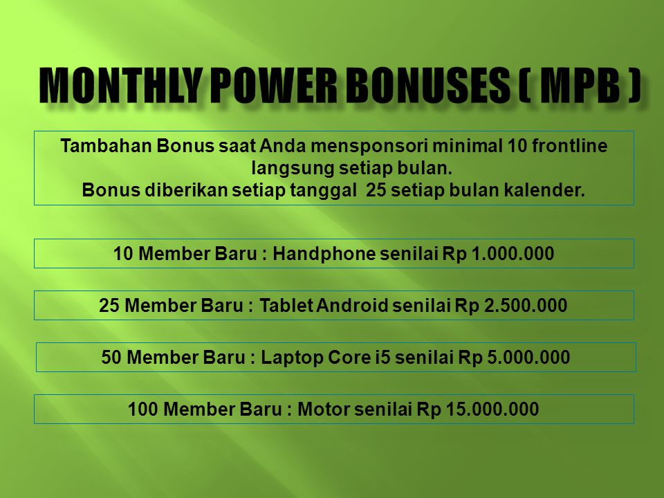 Monthly Power Bonuses ( MPB )