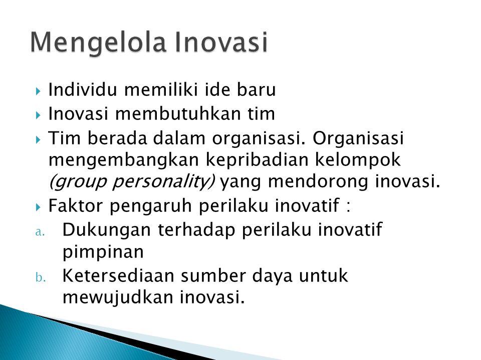 Mengelola Inovasi Individu memiliki ide baru Inovasi membutuhkan tim