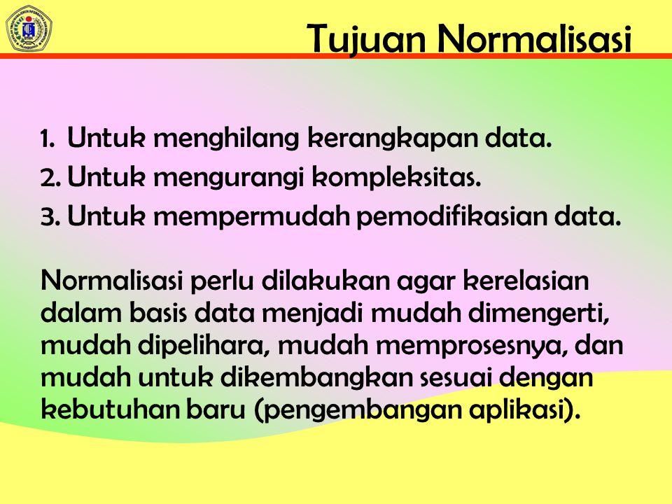 Tujuan Normalisasi Untuk menghilang kerangkapan data.
