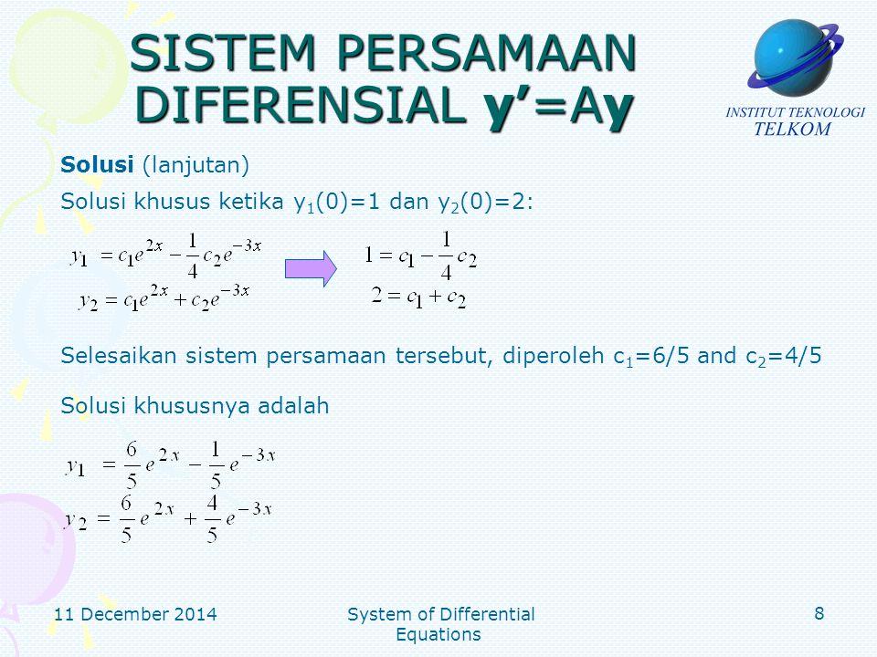 SISTEM PERSAMAAN DIFERENSIAL y'=Ay