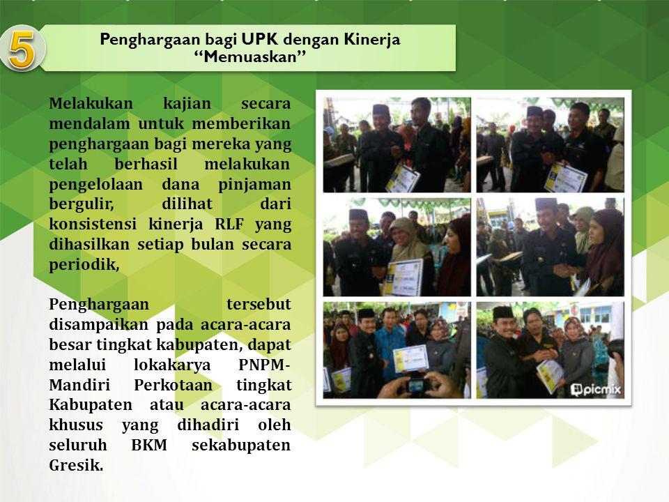 Penghargaan bagi UPK dengan Kinerja Memuaskan