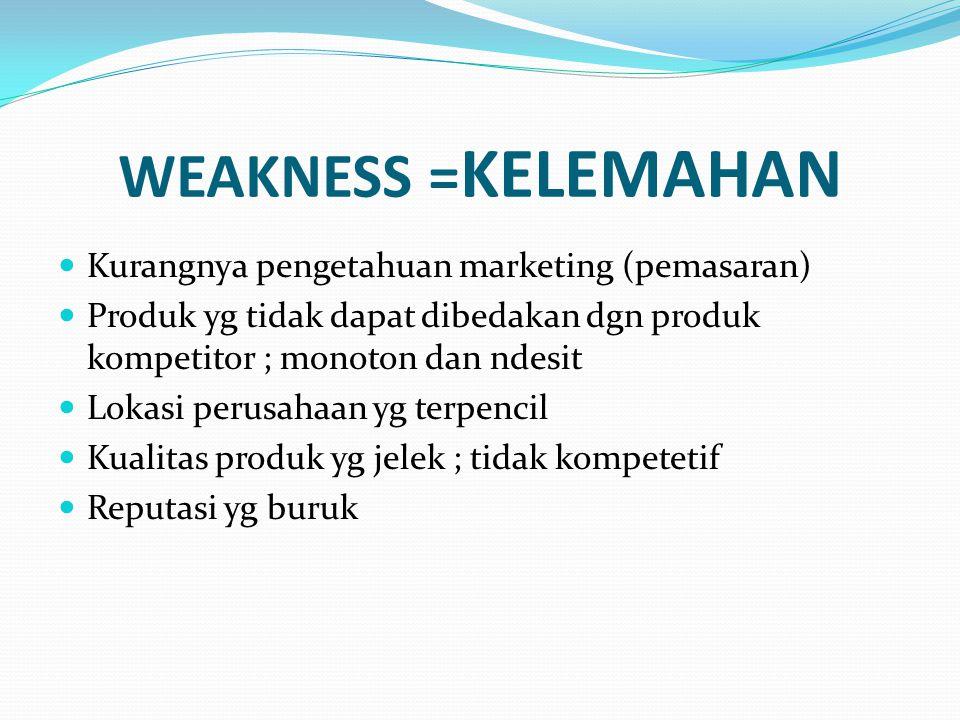WEAKNESS =KELEMAHAN Kurangnya pengetahuan marketing (pemasaran)