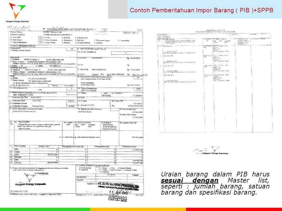 Contoh Pemberitahuan Impor Barang ( PIB )+SPPB