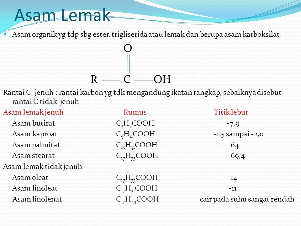 Asam Lemak Asam organik yg tdp sbg ester, trigliserida atau lemak dan berupa asam karboksilat. O. R C OH.