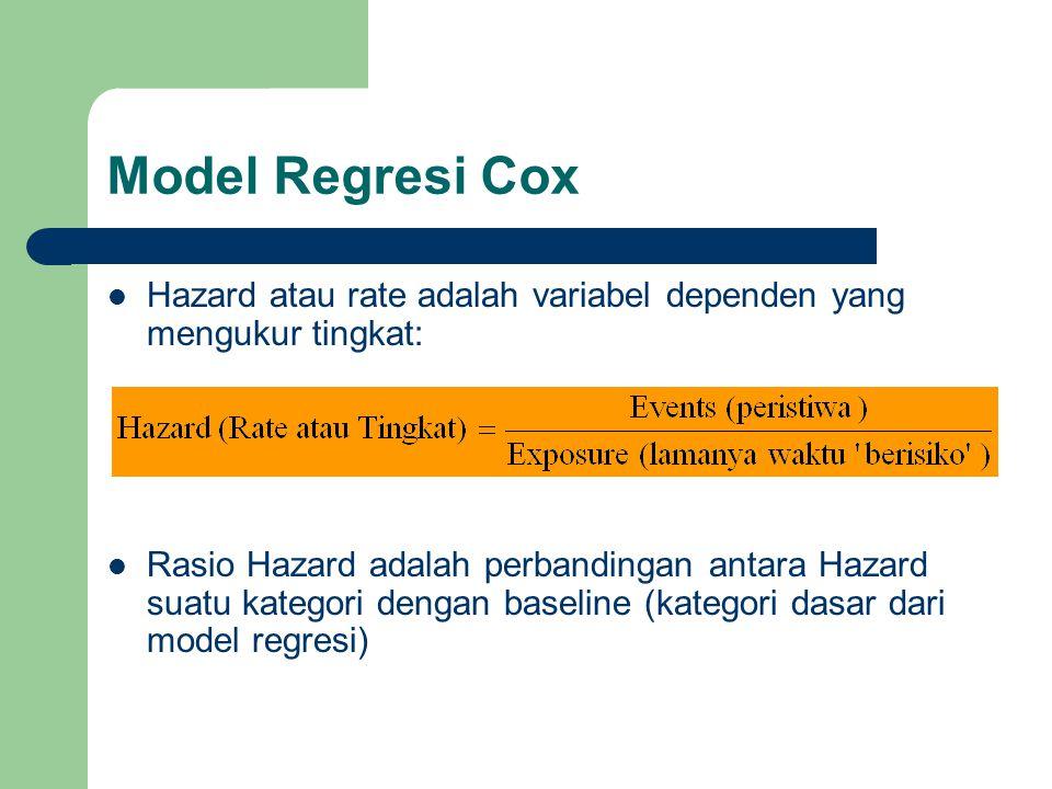 Model Regresi Cox Hazard atau rate adalah variabel dependen yang mengukur tingkat: