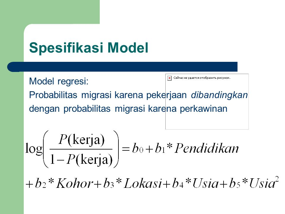 Spesifikasi Model Model regresi: