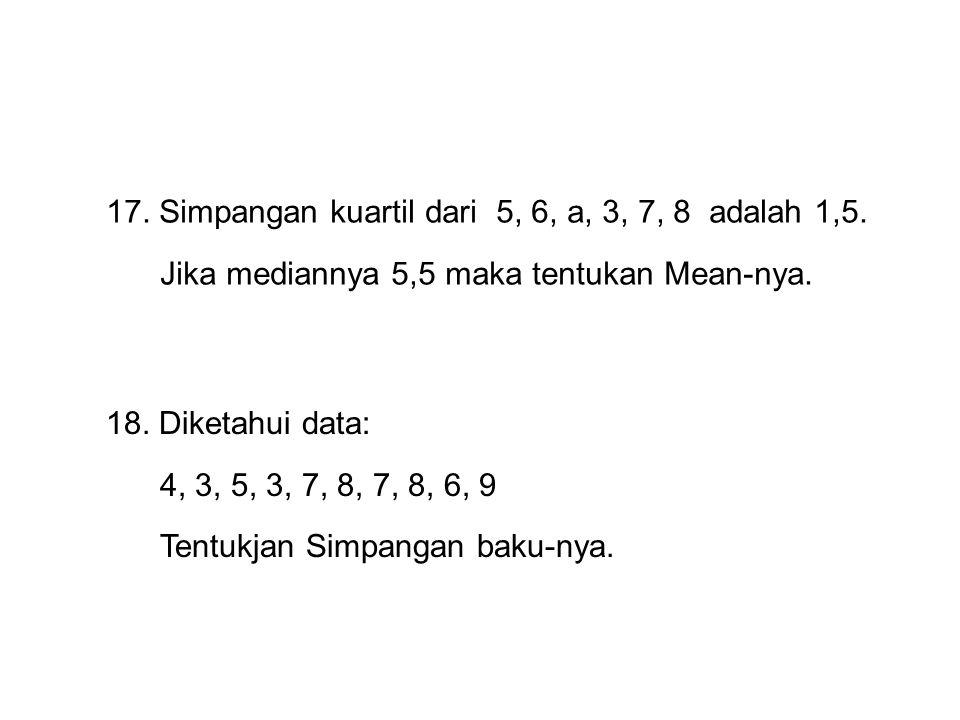 17. Simpangan kuartil dari 5, 6, a, 3, 7, 8 adalah 1,5