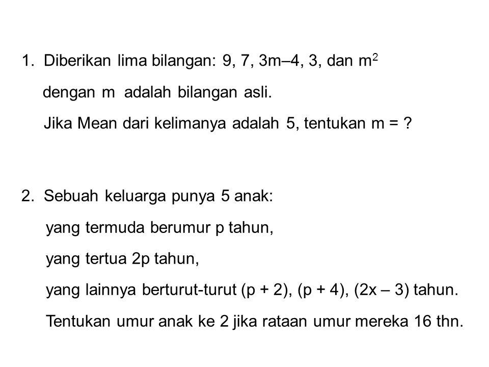 1. Diberikan lima bilangan: 9, 7, 3m–4, 3, dan m2 dengan m adalah bilangan asli.