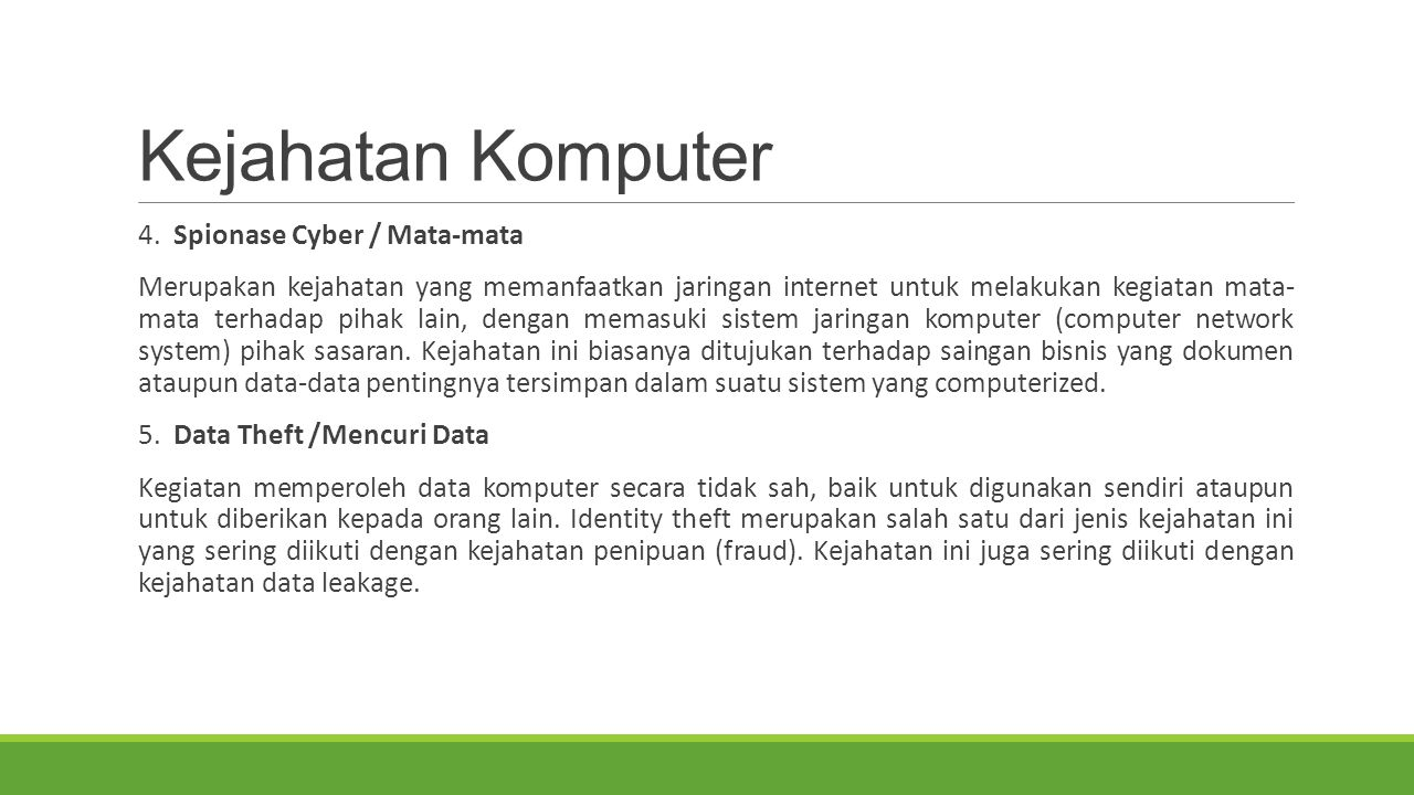 Kejahatan Komputer 4. Spionase Cyber / Mata-mata