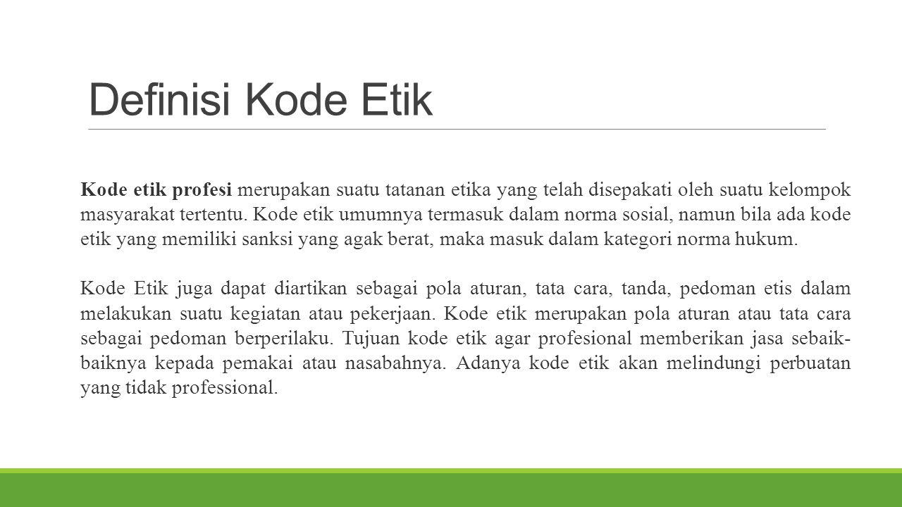 Definisi Kode Etik