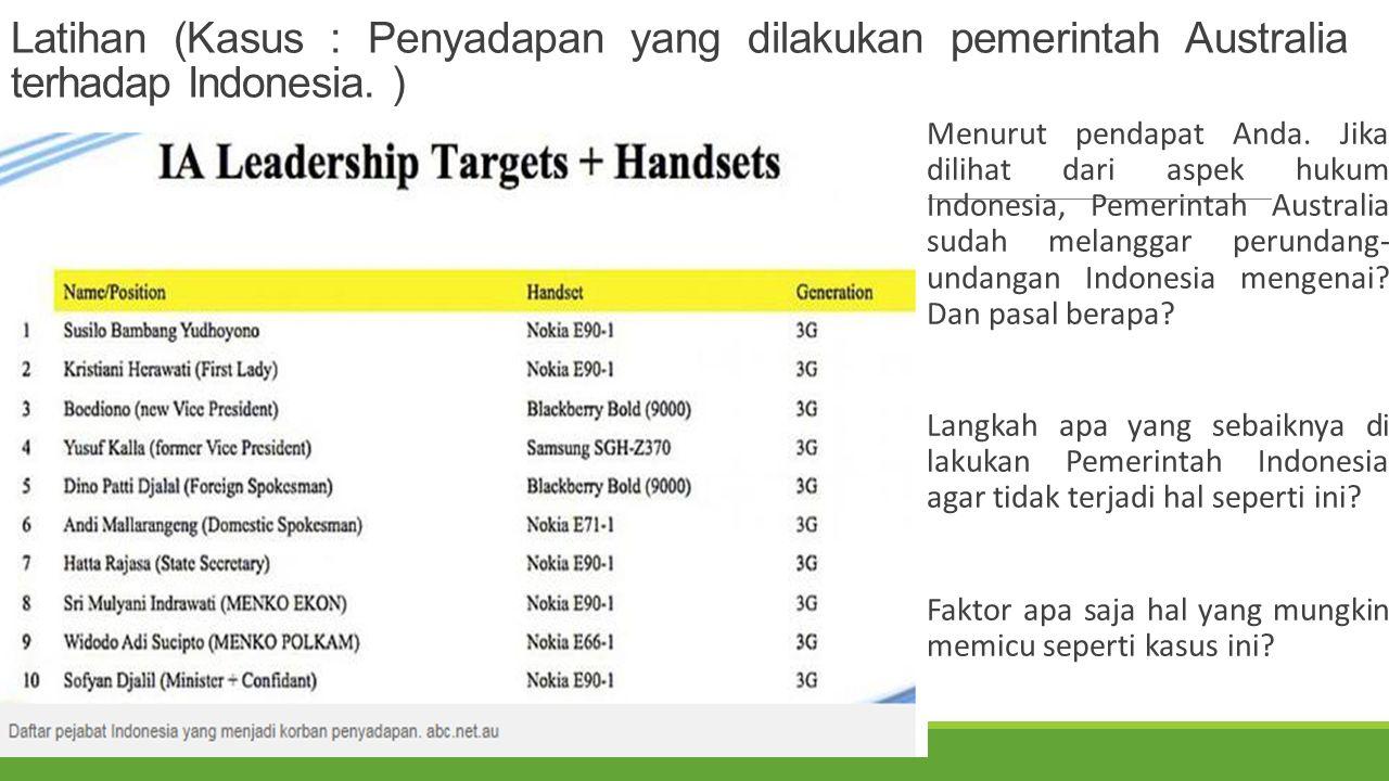 Latihan (Kasus : Penyadapan yang dilakukan pemerintah Australia terhadap Indonesia. )