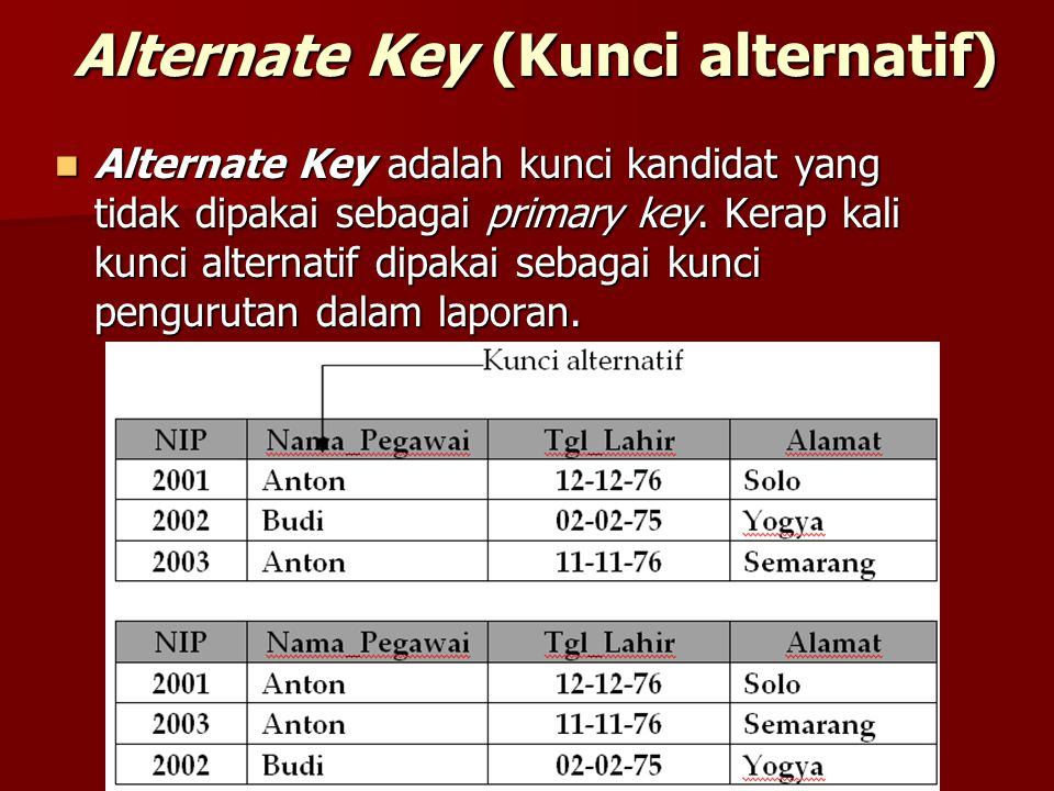 Alternate Key (Kunci alternatif)