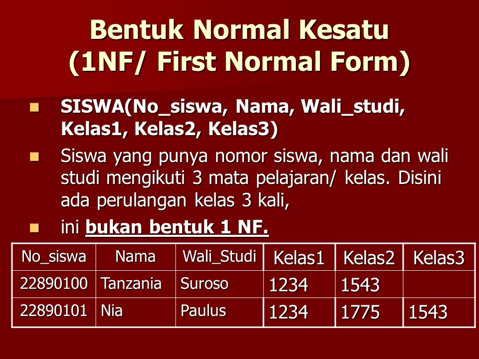 Bentuk Normal Kesatu (1NF/ First Normal Form)