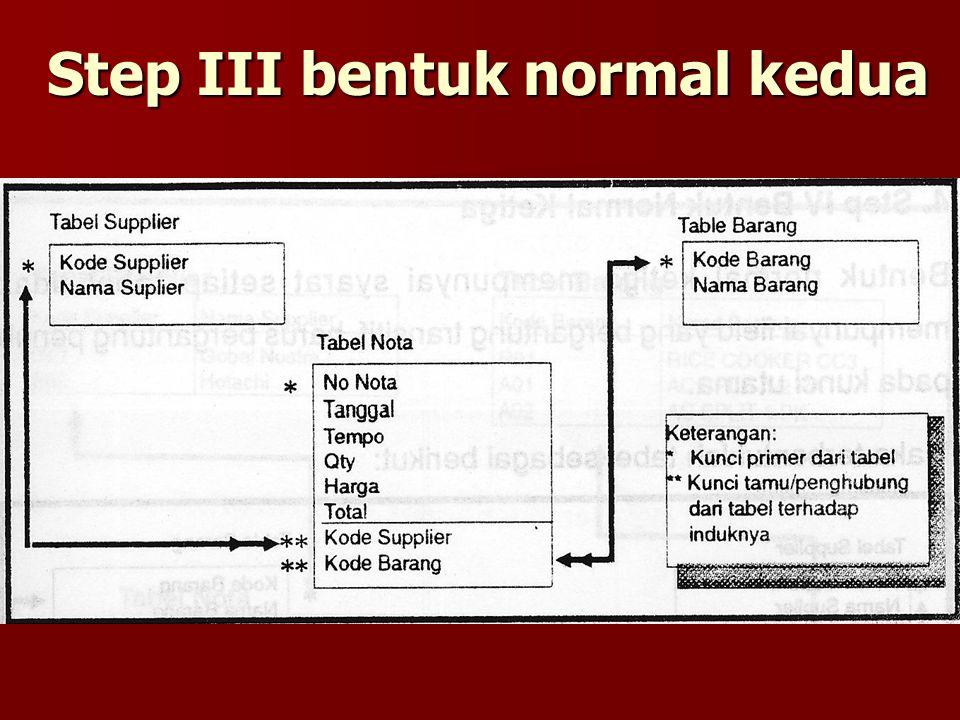 Step III bentuk normal kedua
