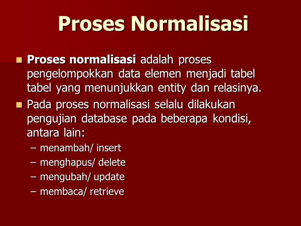 Proses Normalisasi Proses normalisasi adalah proses pengelompokkan data elemen menjadi tabel tabel yang menunjukkan entity dan relasinya.