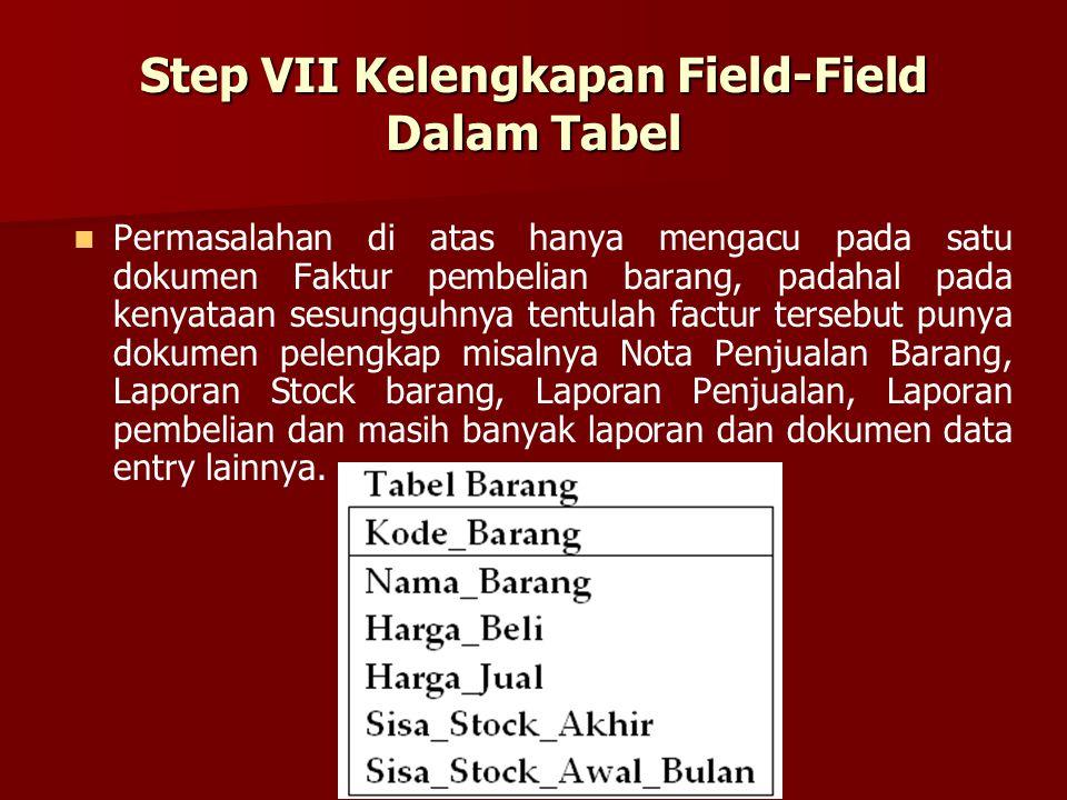Step VII Kelengkapan Field-Field Dalam Tabel