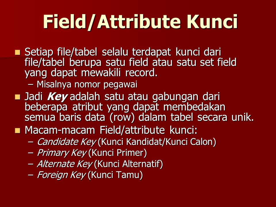 Field/Attribute Kunci
