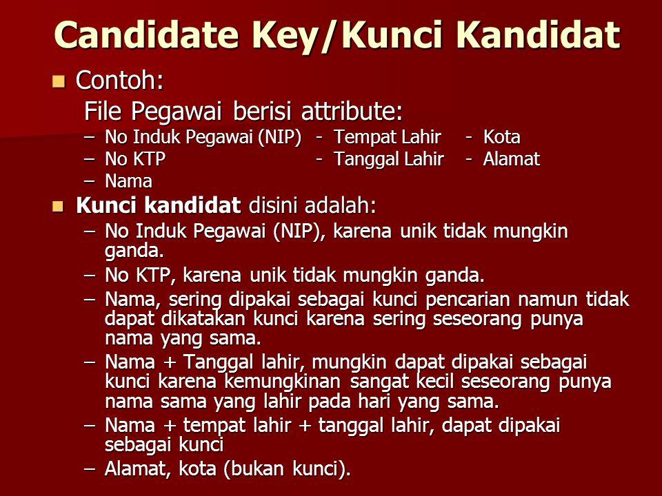 Candidate Key/Kunci Kandidat