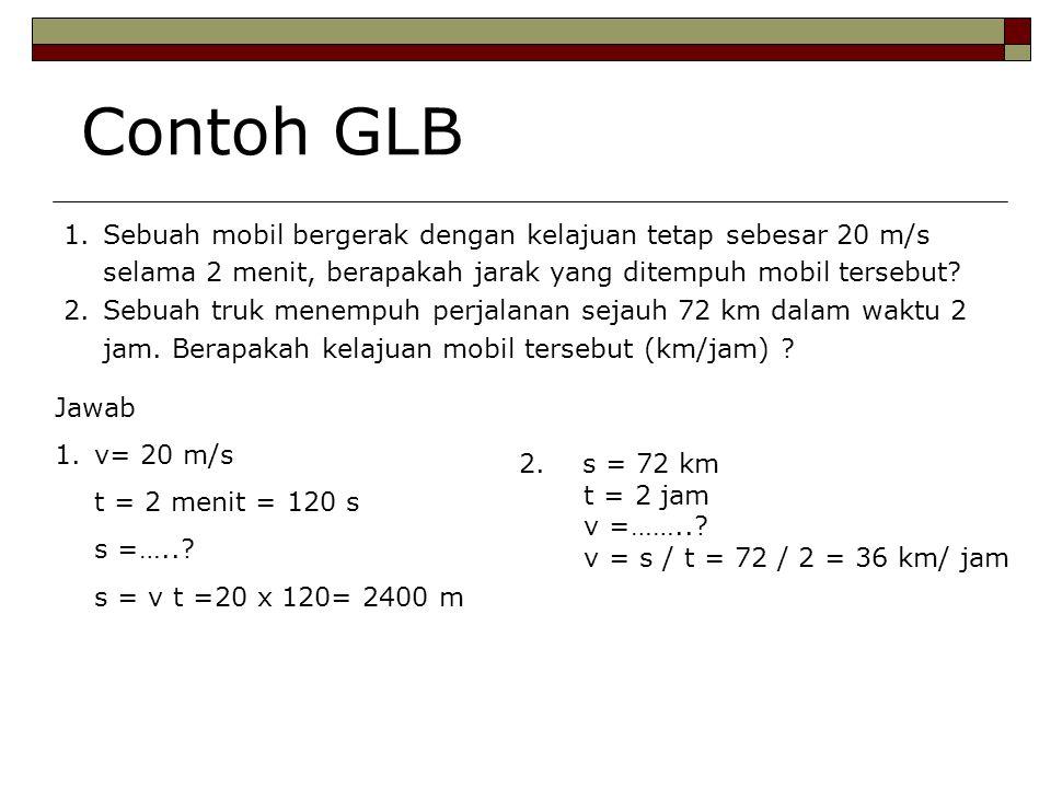 Contoh GLB Sebuah mobil bergerak dengan kelajuan tetap sebesar 20 m/s selama 2 menit, berapakah jarak yang ditempuh mobil tersebut