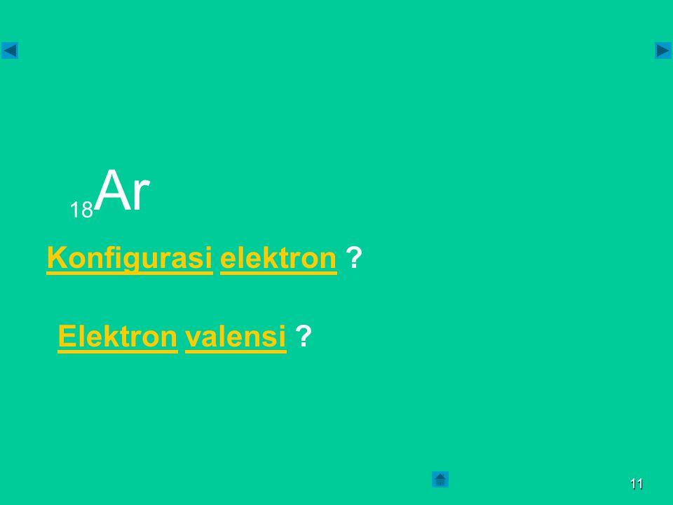 18Ar Konfigurasi elektron Elektron valensi