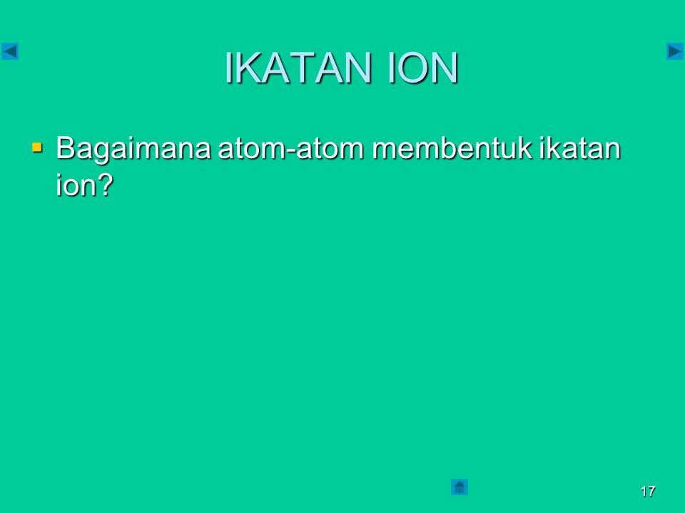 IKATAN ION Bagaimana atom-atom membentuk ikatan ion