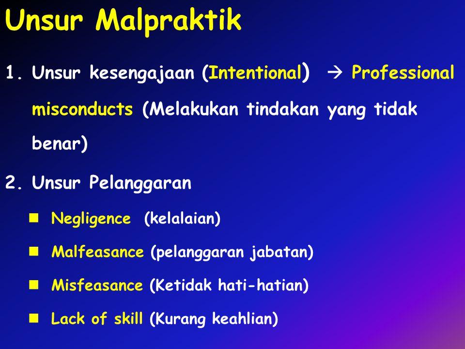 Unsur Malpraktik Unsur kesengajaan (Intentional)  Professional misconducts (Melakukan tindakan yang tidak benar)