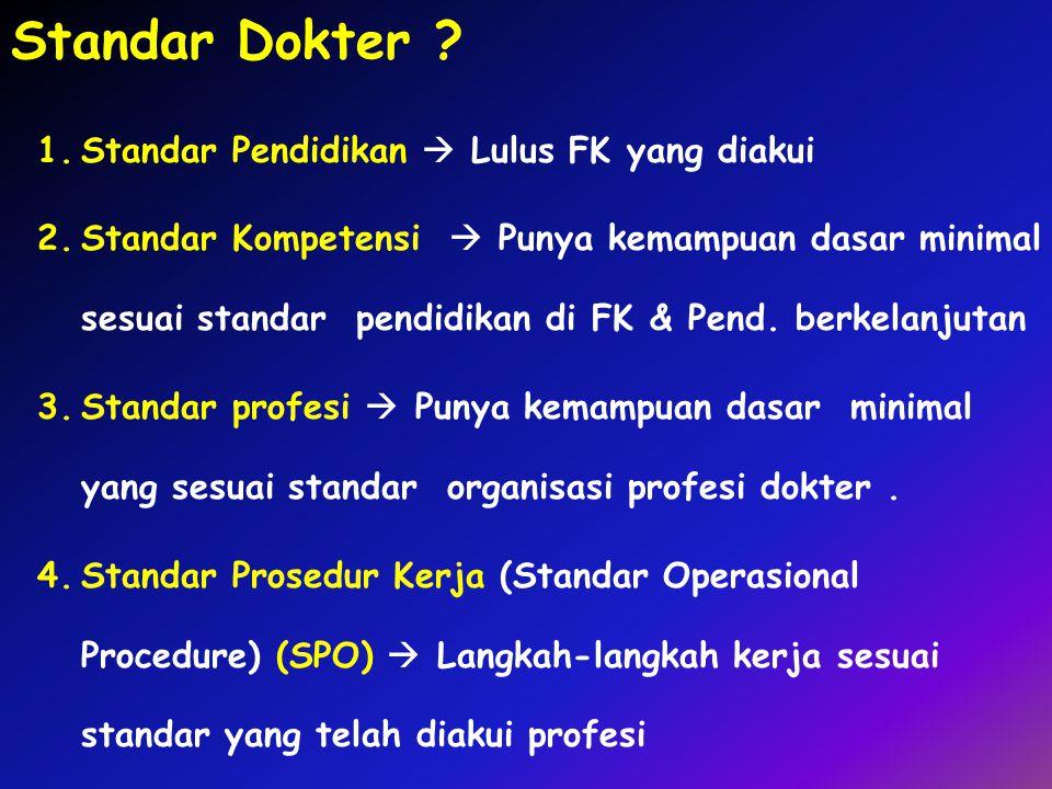 Standar Dokter Standar Pendidikan  Lulus FK yang diakui