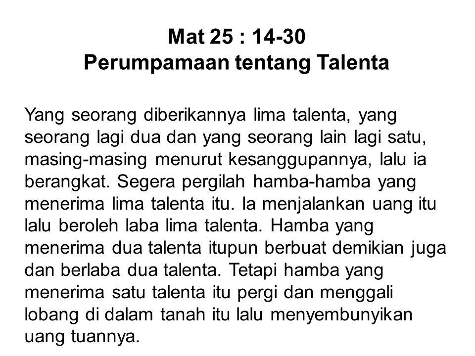 Perumpamaan tentang Talenta