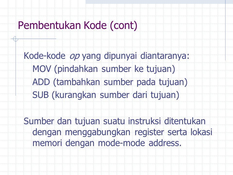 Pembentukan Kode (cont)