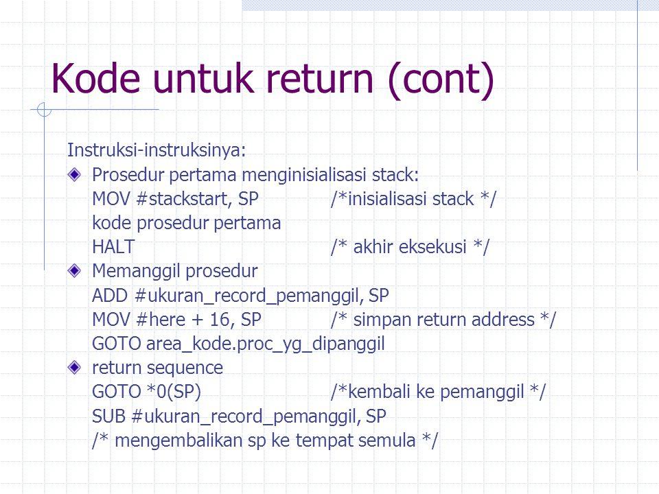 Kode untuk return (cont)